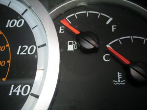 Gas tank gauge showing empty