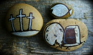 three stones symbolizing Christian faith